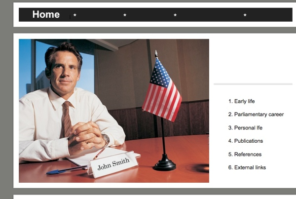 Screenshot from rosas4councilmember.org; who is this John Smith character!?