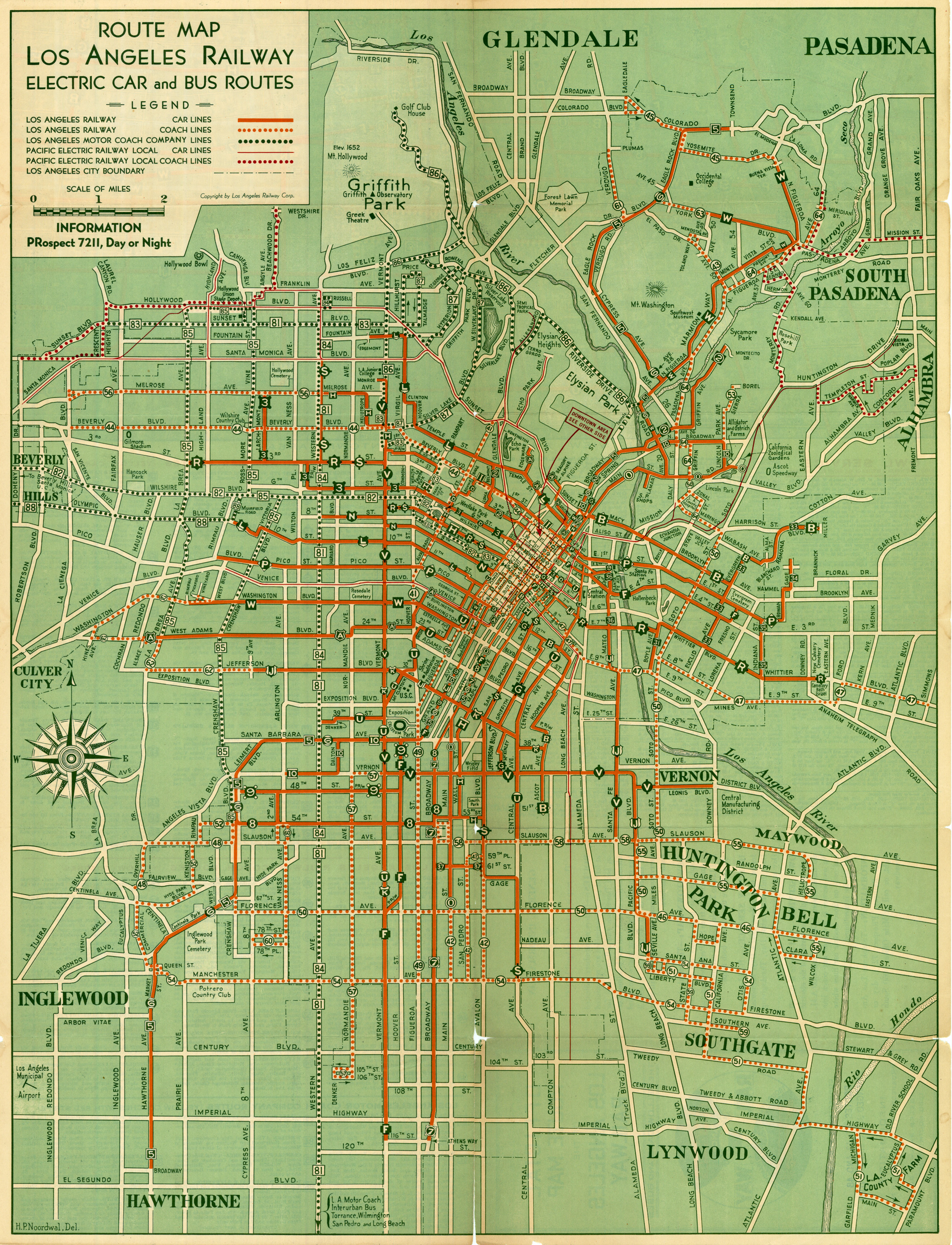 Rare 1938 Rail And Bus Route Street Map Of Los Angeles
