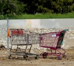 Kissing carts. One is from bulk buy warehouse Smart & Final, the other from a 99¢ resale store. When they met down by the Arroyo Seco, it was love.