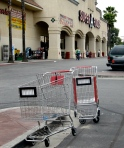New wheel-locking shopping carts at the Super A on York Blvd.