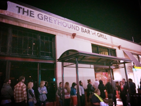 Guests queued outside The Greyhound on opening night.