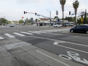 Colorado and Eagle Rock Boulevard with the new road diet. The center once featured a merry-go-round canopy in the center where pedestrians could wait for the streetcar.
