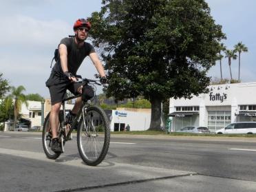 Cyclist enjoying the new buffered bike lanes.