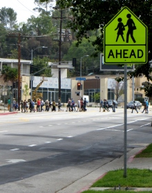 Crossing in a school zone.