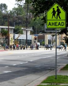 Crossing in a school zone.